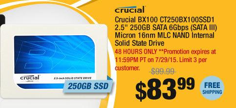 "Crucial BX100 CT250BX100SSD1 2.5"" 250GB SATA 6Gbps (SATA III) Micron 16nm MLC NAND Internal Solid State Drive"