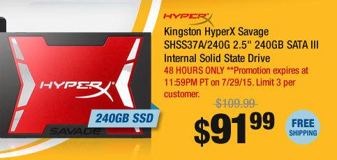"""Kingston HyperX Savage SHSS37A/240G 2.5"""" 240GB SATA III Internal Solid State Drive"""