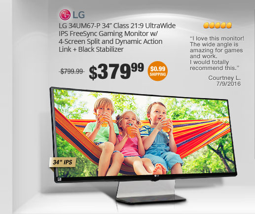 "LG 34UM67-P 34"" Class 21:9 UltraWide IPS FreeSync Gaming Monitor w/ 4-Screen Split and Dynamic Action Link + Black Stabilizer"