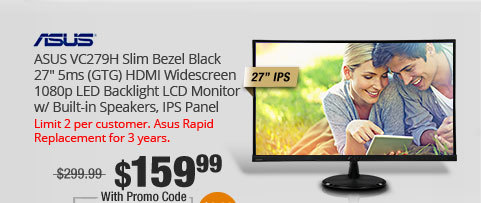 "ASUS VC279H Slim Bezel Black 27"" 5ms (GTG) HDMI Widescreen 1080p LED Backlight LCD Monitor w/ Built-in Speakers, IPS Panel"