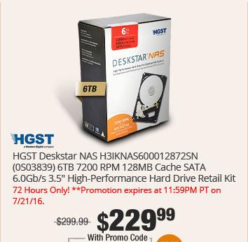 "HGST Deskstar NAS H3IKNAS600012872SN (0S03839) 6TB 7200 RPM 128MB Cache SATA 6.0Gb/s 3.5"" High-Performance Hard Drive Retail Kit"