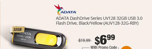 ADATA DashDrive Series UV128 32GB USB 3.0 Flash Drive, Black/Yellow (AUV128-32G-RBY)