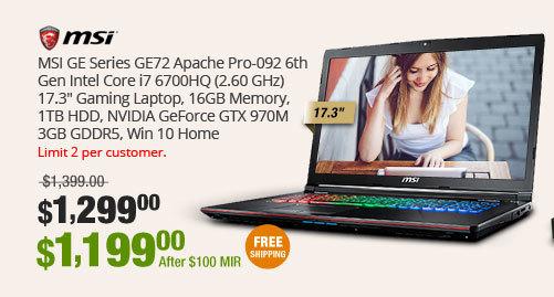 "MSI GE Series GE72 Apache Pro-092 6th Gen Intel Core i7 6700HQ (2.60 GHz) 17.3"" Gaming Laptop, 16GB Memory, 1TB HDD, NVIDIA GeForce GTX 970M 3GB GDDR5, Win 10 Home"