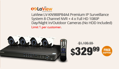 LaView LV-KN988P84A4 Premium IP Surveillance System 8 Channel NVR + 4 x Full HD 1080P Day/Night In/Outdoor Cameras (No HDD Included)
