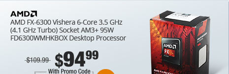 AMD FX-6300 Vishera 6-Core 3.5 GHz (4.1 GHz Turbo) Socket AM3+ 95W FD6300WMHKBOX Desktop Processor