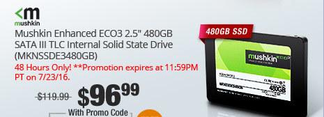 "Mushkin Enhanced ECO3 2.5"" 480GB SATA III TLC Internal Solid State Drive (MKNSSDE3480GB)"