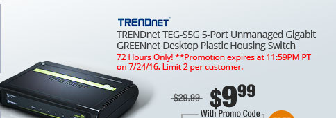 TRENDnet TEG-S5G 5-Port Unmanaged Gigabit GREENnet Desktop Plastic Housing Switch