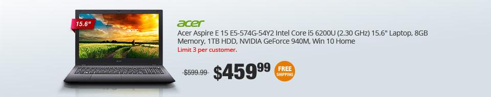 "Acer Aspire E 15 E5-574G-54Y2 Intel Core i5 6200U (2.30 GHz) 15.6"" Laptop, 8GB Memory, 1TB HDD, NVIDIA GeForce 940M, Win 10 Home"