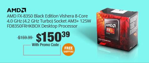 AMD FX-8350 Black Edition Vishera 8-Core 4.0 GHz (4.2 GHz Turbo) Socket AM3+ 125W FD8350FRHKBOX Desktop Processor
