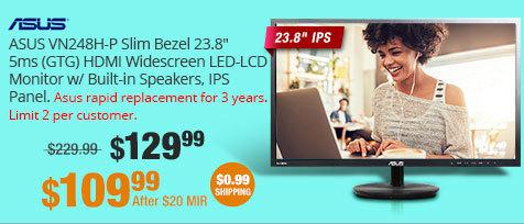 "ASUS VN248H-P Slim Bezel Black 23.8"" 5ms (GTG) HDMI Widescreen 1080p LED Backlight LCD Monitor w/ Built-in Speakers, IPS Panel"