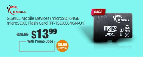 G.SKILL Mobile Devices (microSD) 64GB microSDXC Flash Card (FF-TSDXC64GN-U1)