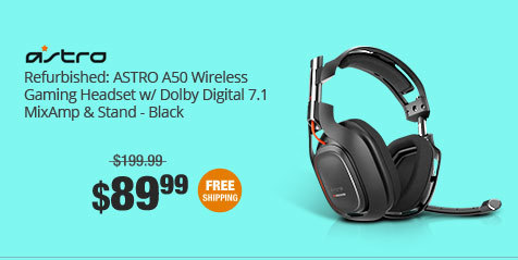 Refurbished: ASTRO A50 Wireless Gaming Headset w/ Dolby Digital 7.1 MixAmp & Stand - Black