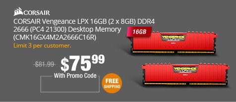 CORSAIR Vengeance LPX 16GB (2 x 8GB) DDR4 2666 (PC4 21300) Desktop Memory (CMK16GX4M2A2666C16R)