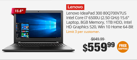 "Lenovo IdeaPad 300 80Q700V7US Intel Core i7 6500U (2.50 GHz) 15.6"" Laptop,  8GB Memory, 1TB HDD, Intel HD Graphics 520, Win 10 Home 64-Bit"