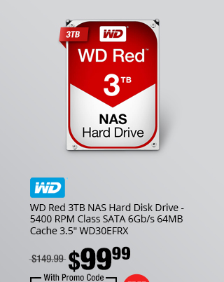 "WD Red 3TB NAS Hard Disk Drive - 5400 RPM Class SATA 6Gb/s 64MB Cache 3.5"" WD30EFRX"