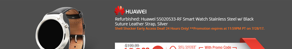 Refurbished: Huawei 55020533-RF Smart Watch Stainless Steel w/ Black Suture Leather Strap, Silver