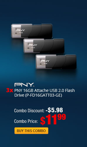 Combo: 3x - PNY 16GB Attache USB 2.0 Flash Drive (P-FD16GATT03-GE)