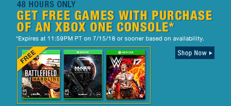 GET FREE GAMES WITH PURCHASE OF AN XBOX ONE CONSOLE