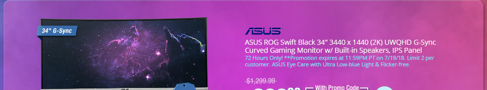 "ASUS ROG Swift Black 34"" 3440 x 1440 (2K) UWQHD G-Sync Curved Gaming Monitor w/ Built-in Speakers, IPS Panel"