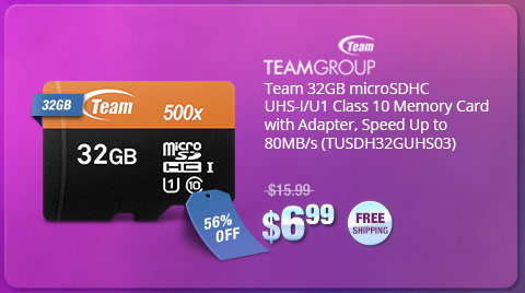 Team 32GB microSDHC UHS-I/U1 Class 10 Memory Card with Adapter, Speed Up to 80MB/s (TUSDH32GUHS03)