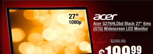Acer G276HLDbd Black 27 inch 6ms (GTG) Widescreen LED Monitor