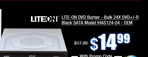 LITE-ON DVD Burner - Bulk 24X DVD+/-R Black SATA Model iHAS124-04 - OEM