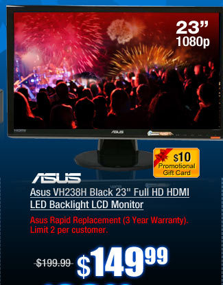 Asus VH238H Black 23 inch Full HD HDMI LED Backlight LCD Monitor