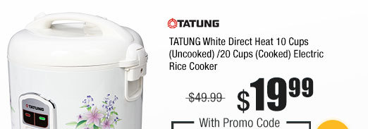 TATUNG White Direct Heat 10 Cups (Uncooked)/20 Cups (Cooked) Electric Rice Cooker