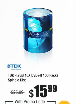 TDK 4.7GB 16X DVD+R 100 Packs Spindle Disc