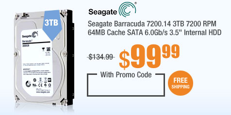 "Seagate Barracuda 7200.14 3TB 7200 RPM 64MB Cache SATA 6.0Gb/s 3.5"" Internal HDD"