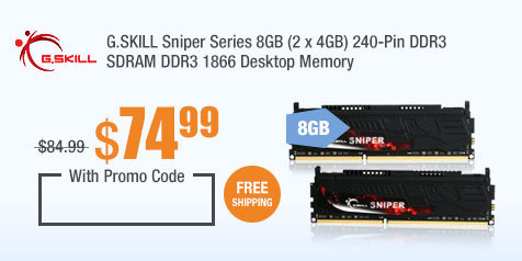 G.SKILL Sniper Series 8GB (2 x 4GB) 240-Pin DDR3 SDRAM DDR3 1866 Desktop Memory