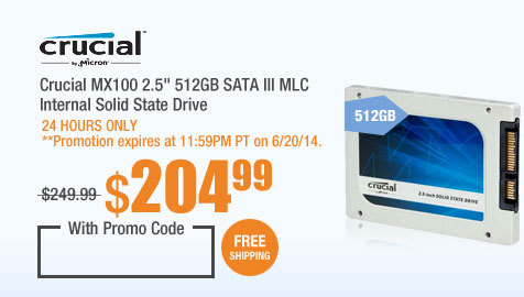 "Crucial MX100 2.5"" 512GB SATA III MLC Internal Solid State Drive"