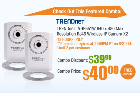 TRENDnet TV-IP551W 640 x 480 Max Resolution RJ45 Wireless IP Camera