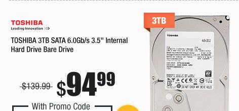 """TOSHIBA 3TB SATA 6.0Gb/s 3.5"""" Internal Hard Drive Bare Drive"""