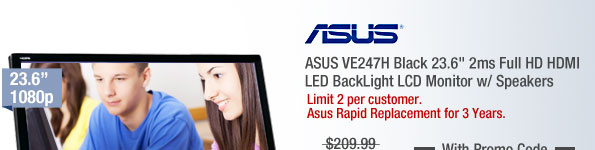 "ASUS VE247H Black 23.6"" 2ms Full HD HDMI LED BackLight LCD Monitor w/ Speakers"