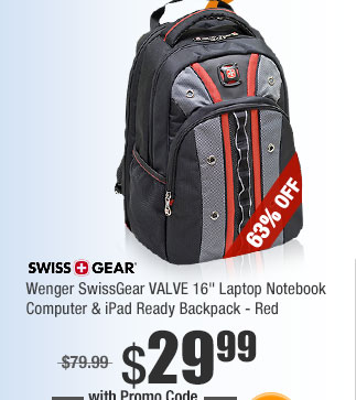 "Wenger SwissGear VALVE 16"" Laptop Notebook Computer & iPad Ready Backpack - Red"