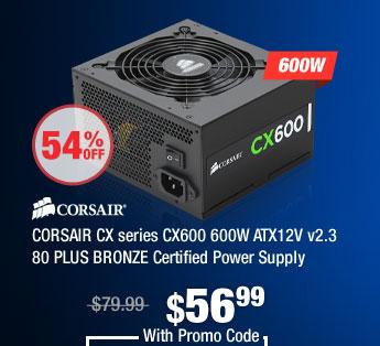 CORSAIR CX series CX600 600W ATX12V v2.3 80 PLUS BRONZE Certified Power Supply