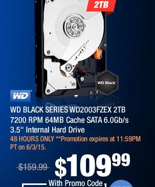 """WD BLACK SERIES WD2003FZEX 2TB 7200 RPM 64MB Cache SATA 6.0Gb/s 3.5"""" Internal Hard Drive"""
