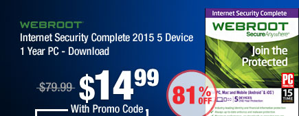 Internet Security Complete 2015 5 Device 1 Year PC - Download