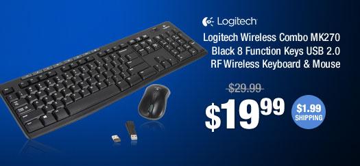 Logitech Wireless Combo MK270 Black 8 Function Keys USB 2.0 RF Wireless Keyboard & Mouse
