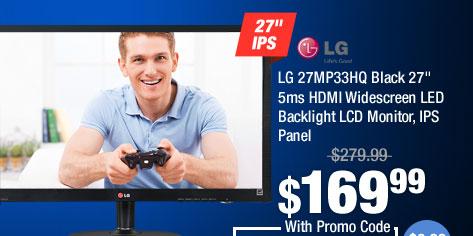 "LG 27MP33HQ Black 27"" 5ms HDMI Widescreen LED Backlight LCD Monitor, IPS Panel"