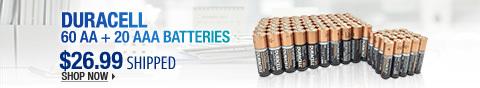 Newegg Flash – Duracell 60 AA + 20 AAA Batteries