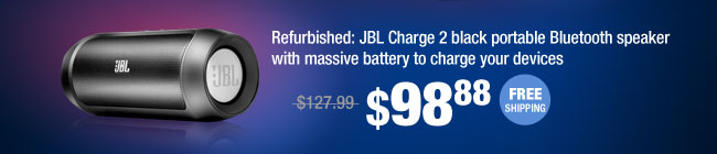 Refurbished: JBL Charge 2 black portable Bluetooth speaker with massive battery to charge your devices