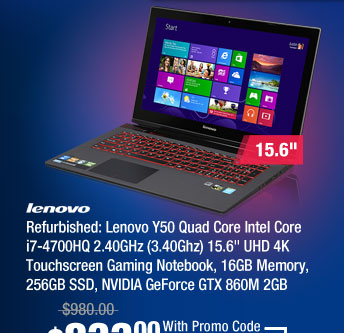 "Refurbished: Lenovo Y50 Quad Core Intel Core i7-4700HQ 2.40GHz (3.40Ghz) 15.6"" UHD 4K Touchscreen Gaming Notebook, 16GB Memory, 256GB SSD, NVIDIA GeForce GTX 860M 2GB"