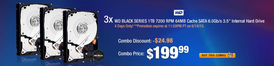 """3X - WD BLACK SERIES 1TB 7200 RPM 64MB Cache SATA 6.0Gb/s 3.5"""" Internal Hard Drive"""