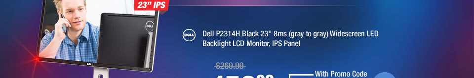 """Dell P2314H Black 23"""" 8ms (gray to gray) Widescreen LED Backlight LCD Monitor, IPS Panel"""