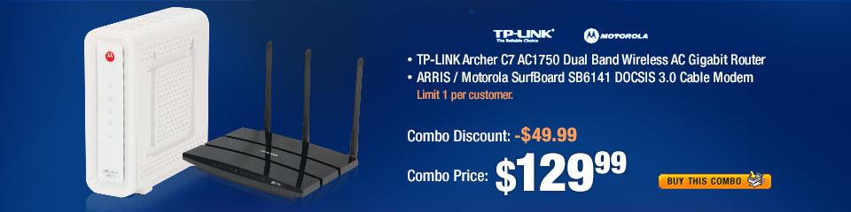 COMBO: ARRIS / Motorola SurfBoard SB6141 DOCSIS 3.0 Cable Modem;  TP-LINK Archer C7 AC1750 Dual Band Wireless AC Gigabit Router