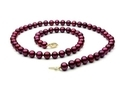 """The Pearl Outlet FNCR8AAP-YG Cranberry Red Freshwater Pearl Necklace - 8mm, 14k Gold Clasp, AAA, 18"""""""