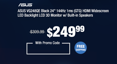 """ASUS VG248QE Black 24"""" 144Hz 1ms (GTG) HDMI Widescreen LED Backlight LCD 3D Monitor w/ Built-in Speakers"""
