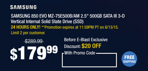 "SAMSUNG 850 EVO MZ-75E500B/AM 2.5"" 500GB SATA III 3-D Vertical Internal Solid State Drive (SSD)"